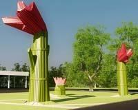 Большие деревянные цветы установят у Камского моста в Перми