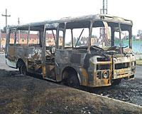 В Таганроге горел автобус