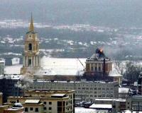 Купол Спасо-Преображенского собора в Перми загорелся