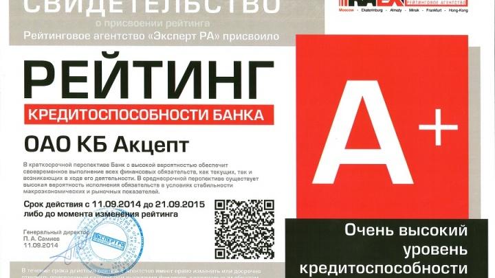 Банку «Акцепт» подтвердили рейтинг кредитоспособности на уровне А+